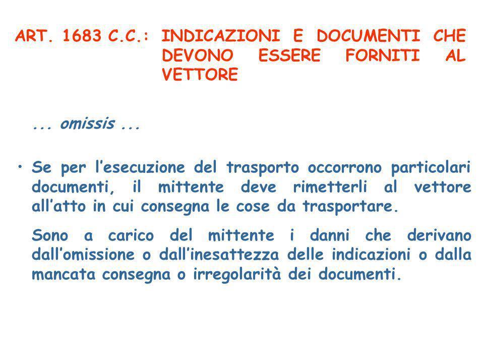 ART. 1683 C.C.:INDICAZIONI E DOCUMENTI CHE DEVONO ESSERE FORNITI AL VETTORE Se per lesecuzione del trasporto occorrono particolari documenti, il mitte