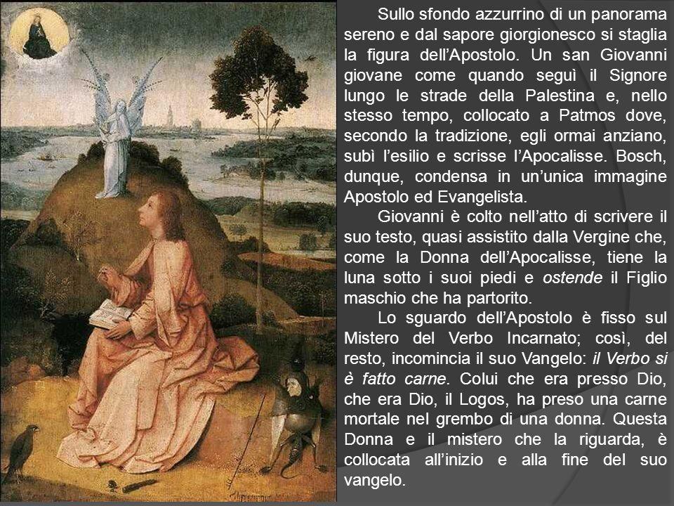 Sullo sfondo azzurrino di un panorama sereno e dal sapore giorgionesco si staglia la figura dellApostolo. Un san Giovanni giovane come quando seguì il