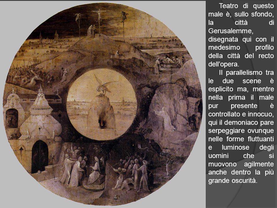 Teatro di questo male è, sullo sfondo, la città di Gerusalemme, disegnata qui con il medesimo profilo della città del recto dellopera. Il parallelismo