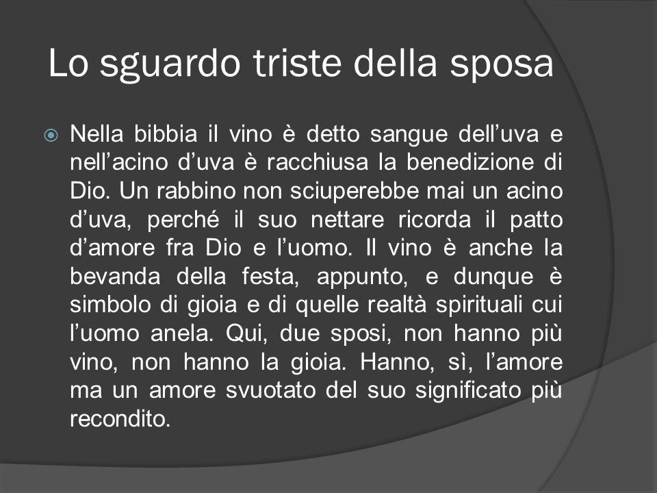Lo sguardo triste della sposa Nella bibbia il vino è detto sangue delluva e nellacino duva è racchiusa la benedizione di Dio. Un rabbino non sciupereb