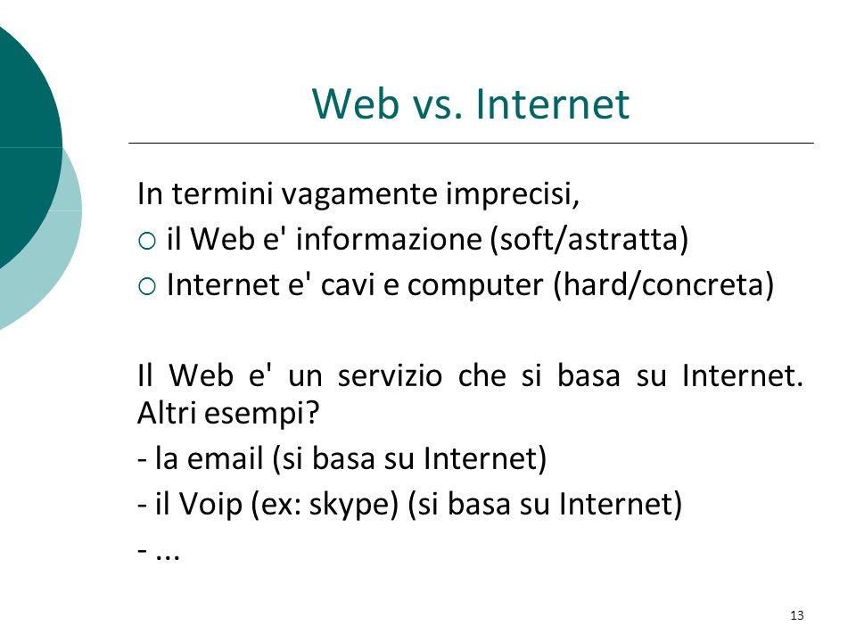 Web vs. Internet In termini vagamente imprecisi, il Web e' informazione (soft/astratta) Internet e' cavi e computer (hard/concreta) Il Web e' un servi