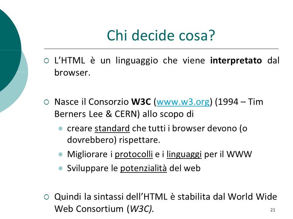 Chi decide cosa? LHTML è un linguaggio che viene interpretato dal browser. Nasce il Consorzio W3C (www.w3.org) (1994 – Tim Berners Lee & CERN) allo sc