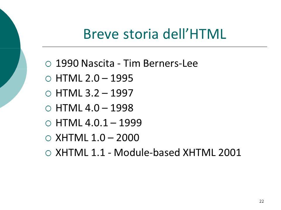 Breve storia dellHTML 1990 Nascita - Tim Berners-Lee HTML 2.0 – 1995 HTML 3.2 – 1997 HTML 4.0 – 1998 HTML 4.0.1 – 1999 XHTML 1.0 – 2000 XHTML 1.1 - Mo
