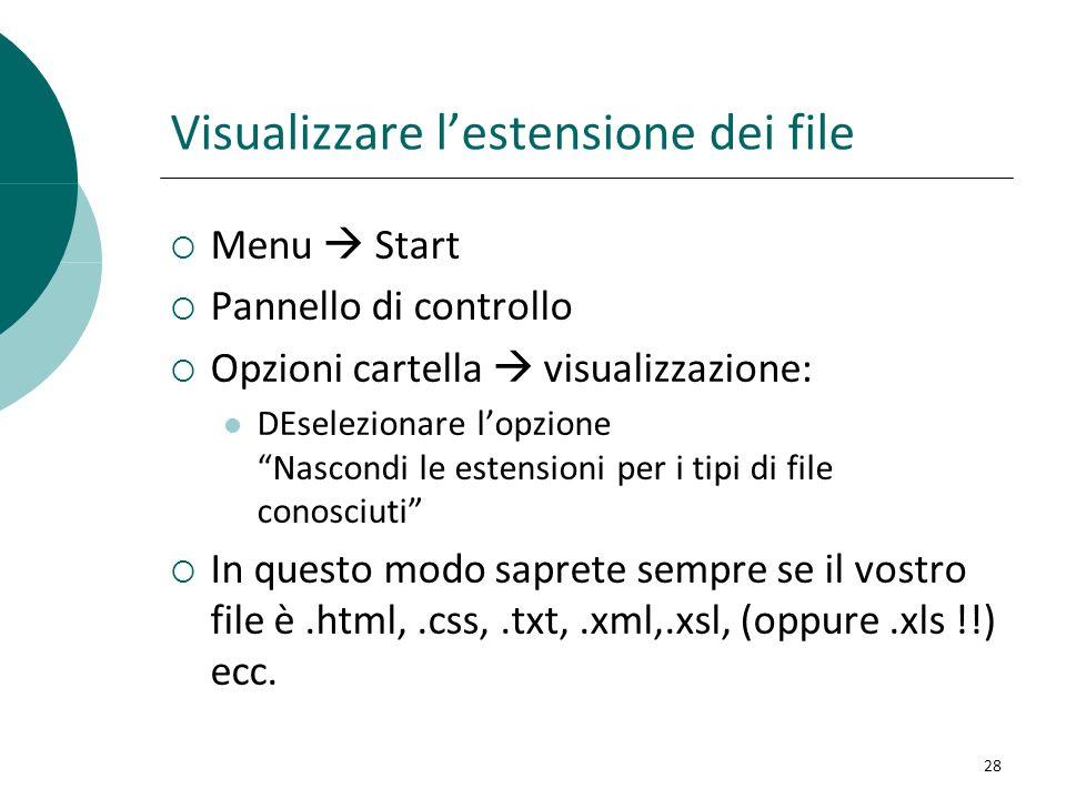 Visualizzare lestensione dei file Menu Start Pannello di controllo Opzioni cartella visualizzazione: DEselezionare lopzione Nascondi le estensioni per