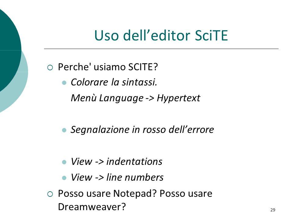 Uso delleditor SciTE Perche' usiamo SCITE? Colorare la sintassi. Menù Language -> Hypertext Segnalazione in rosso dellerrore View -> indentations View