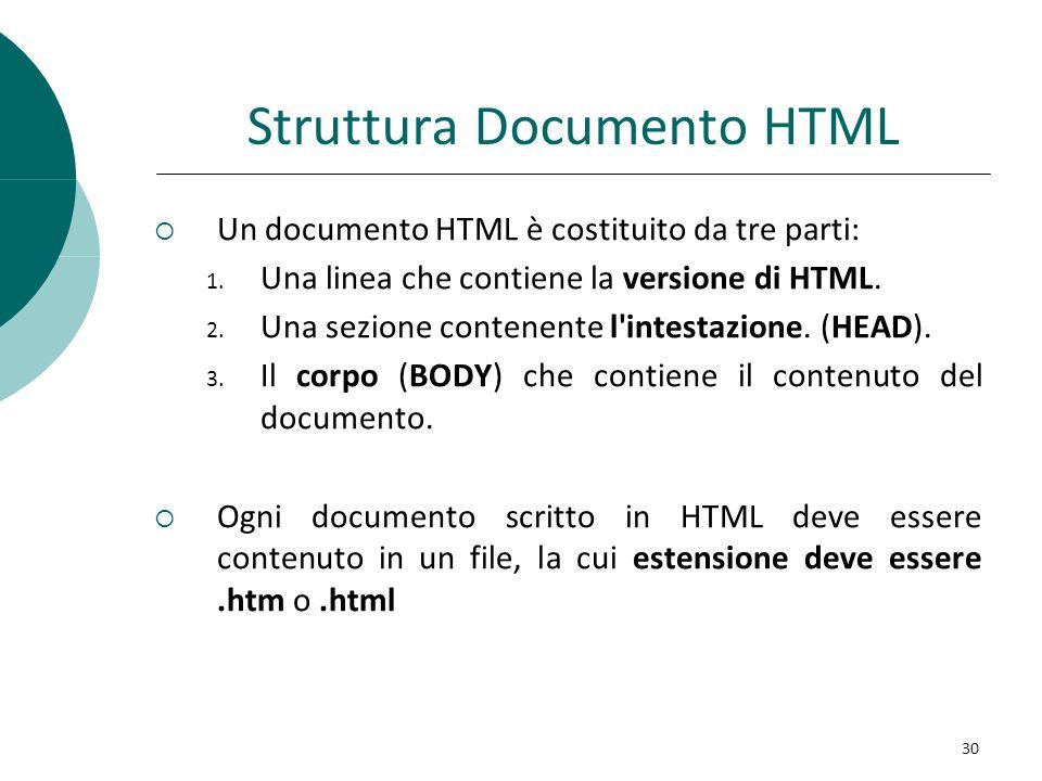 Struttura Documento HTML Un documento HTML è costituito da tre parti: 1. Una linea che contiene la versione di HTML. 2. Una sezione contenente l'intes