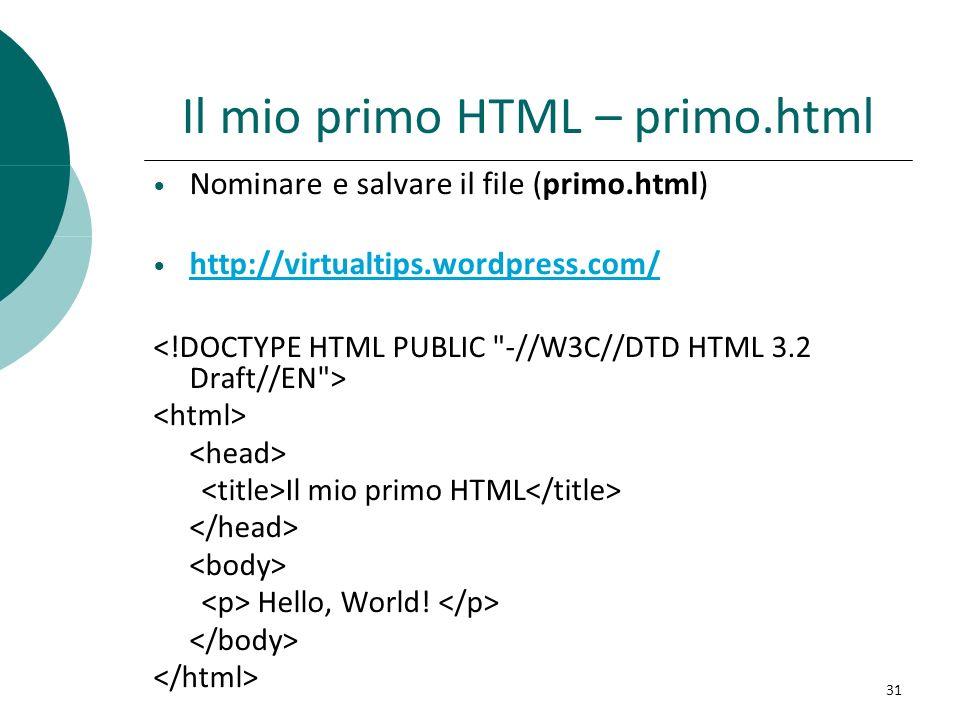 Il mio primo HTML – primo.html Nominare e salvare il file (primo.html) http://virtualtips.wordpress.com/ Il mio primo HTML Hello, World! 31