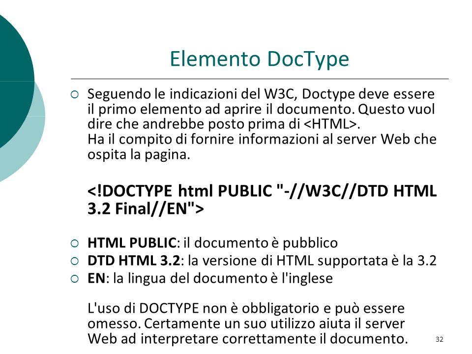 Elemento DocType Seguendo le indicazioni del W3C, Doctype deve essere il primo elemento ad aprire il documento. Questo vuol dire che andrebbe posto pr