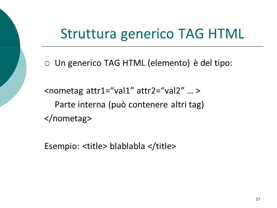 Struttura generico TAG HTML Un generico TAG HTML (elemento) è del tipo: Parte interna (può contenere altri tag) Esempio: blablabla 37