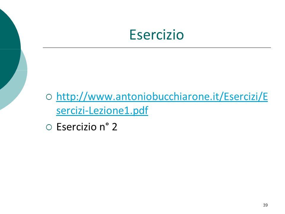 Esercizio http://www.antoniobucchiarone.it/Esercizi/E sercizi-Lezione1.pdf http://www.antoniobucchiarone.it/Esercizi/E sercizi-Lezione1.pdf Esercizio