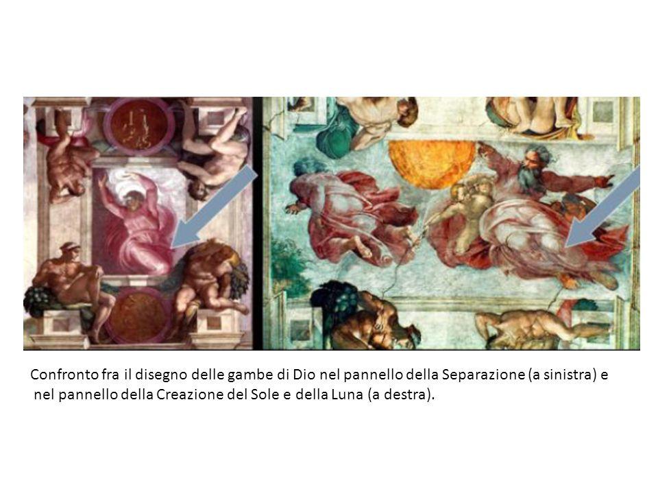 Confronto fra il disegno delle gambe di Dio nel pannello della Separazione (a sinistra) e nel pannello della Creazione del Sole e della Luna (a destra