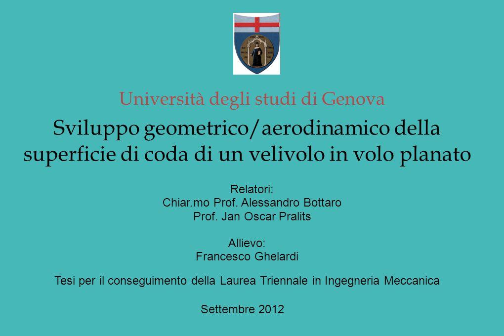 Università degli studi di Genova Sviluppo geometrico/aerodinamico della superficie di coda di un velivolo in volo planato Relatori: Chiar.mo Prof.