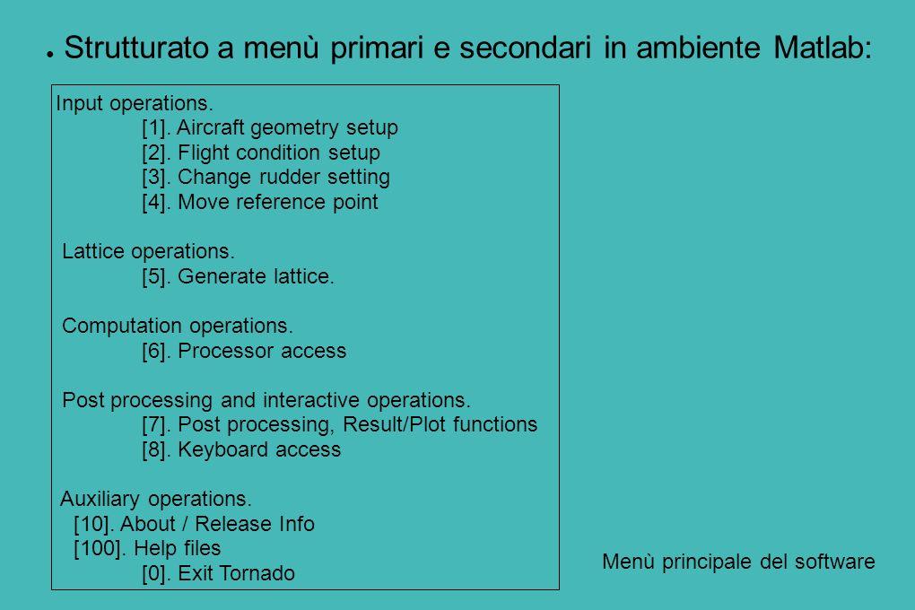 Strutturato a menù primari e secondari in ambiente Matlab: Input operations. [1]. Aircraft geometry setup [2]. Flight condition setup [3]. Change rudd