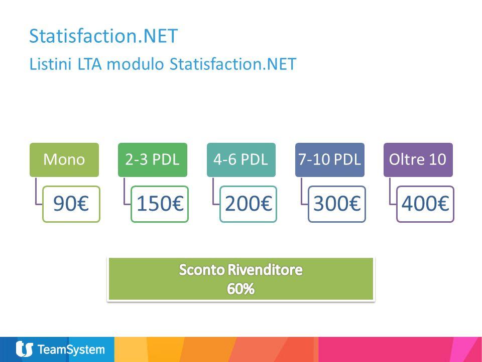 Listini LTA modulo Statisfaction.NET Statisfaction.NET Mono 90 2-3 PDL 150 4-6 PDL 200 7-10 PDL 300 Oltre 10 400