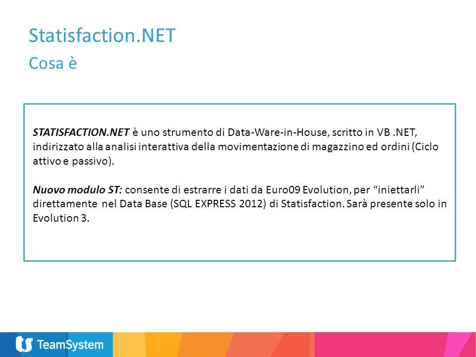 Statisfaction.NET Cosa è STATISFACTION.NET è uno strumento di Data-Ware-in-House, scritto in VB.NET, indirizzato alla analisi interattiva della movime
