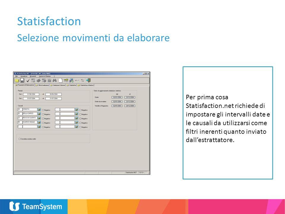 Selezione movimenti da elaborare Per prima cosa Statisfaction.net richiede di impostare gli intervalli date e le causali da utilizzarsi come filtri in