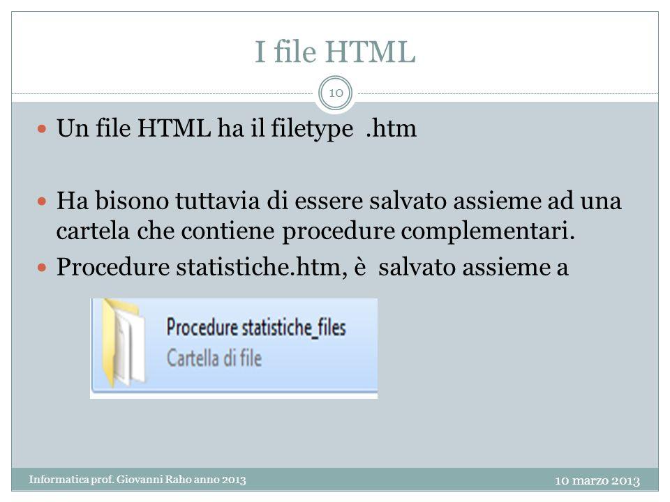 I file HTML Un file HTML ha il filetype.htm Ha bisono tuttavia di essere salvato assieme ad una cartela che contiene procedure complementari.