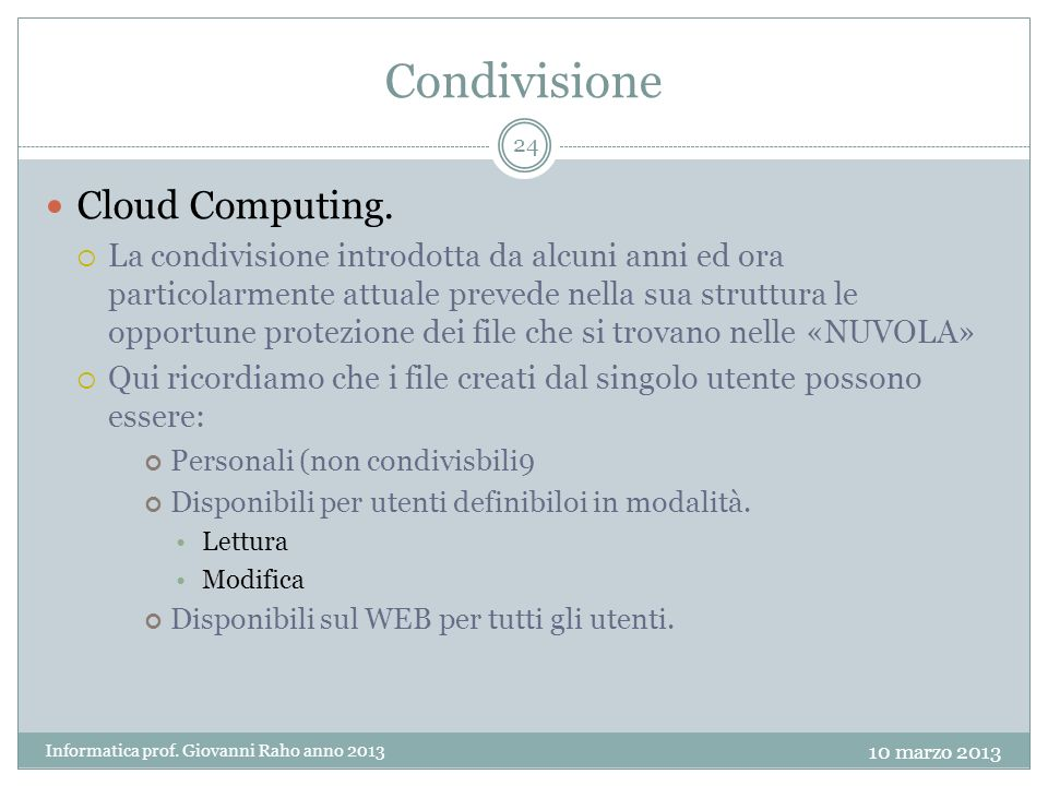 Condivisione Cloud Computing.