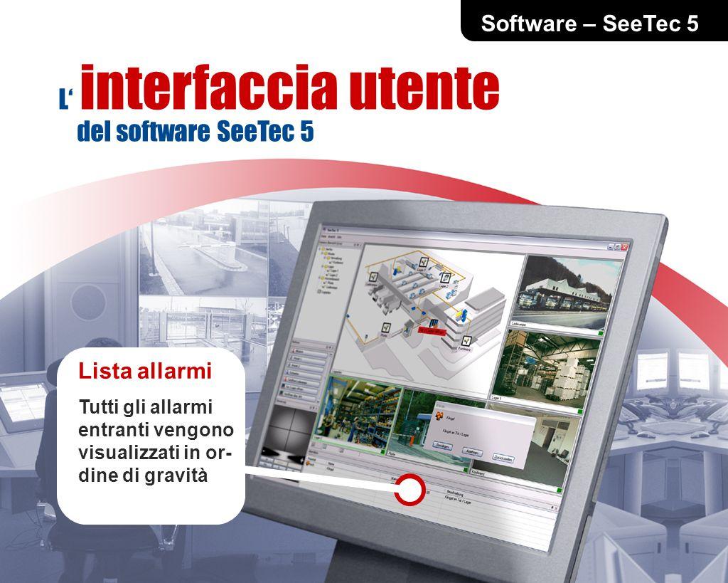 Software – SeeTec 5 Lista allarmi Tutti gli allarmi entranti vengono visualizzati in or- dine di gravità L interfaccia utente del software SeeTec 5