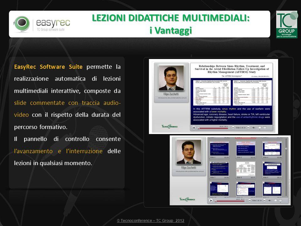 © Tecnoconference – TC Group 2012 LEZIONI DIDATTICHE MULTIMEDIALI: i Vantaggi EasyRec Software Suite permette la realizzazione automatica di lezioni m