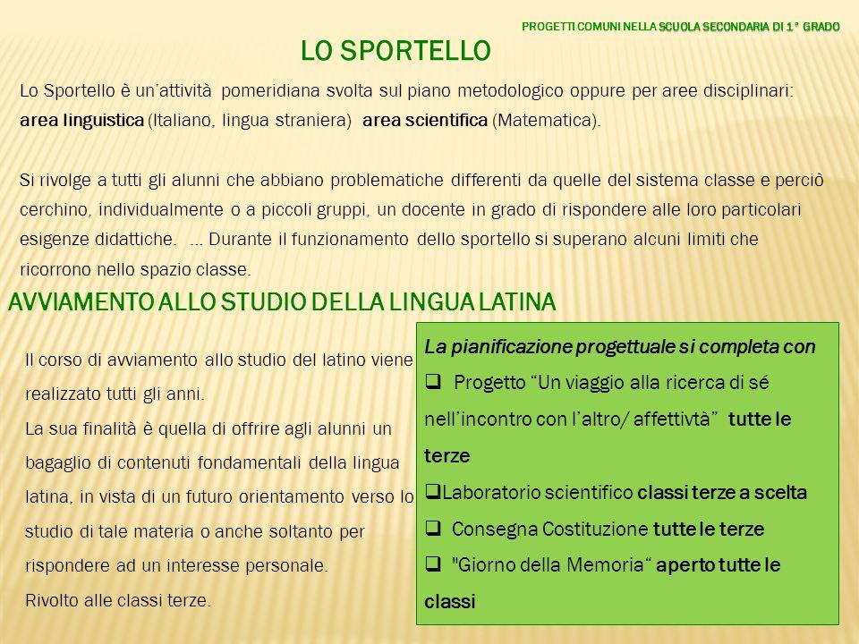 LO SPORTELLO Lo Sportello è unattività pomeridiana svolta sul piano metodologico oppure per aree disciplinari: area linguistica (Italiano, lingua stra