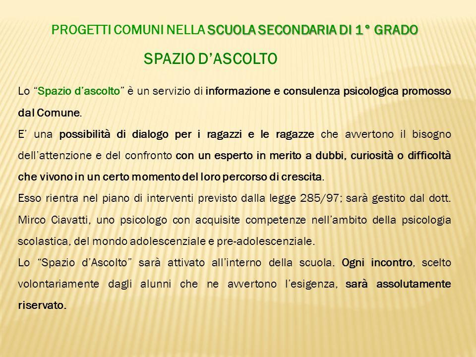 SPAZIO DASCOLTO Lo Spazio dascolto è un servizio di informazione e consulenza psicologica promosso dal Comune. E una possibilità di dialogo per i raga