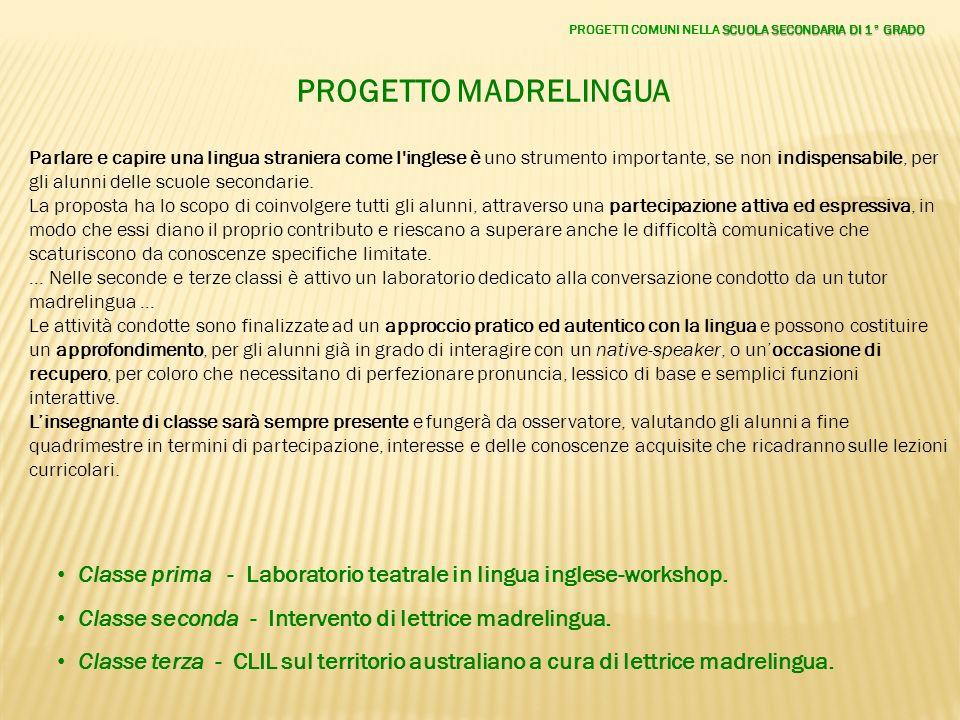 PROGETTO MADRELINGUA Parlare e capire una lingua straniera come l'inglese è uno strumento importante, se non indispensabile, per gli alunni delle scuo