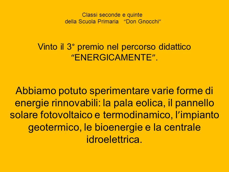 Vinto il 3° premio nel percorso didattico ENERGICAMENTE. Abbiamo potuto sperimentare varie forme di energie rinnovabili: la pala eolica, il pannello s