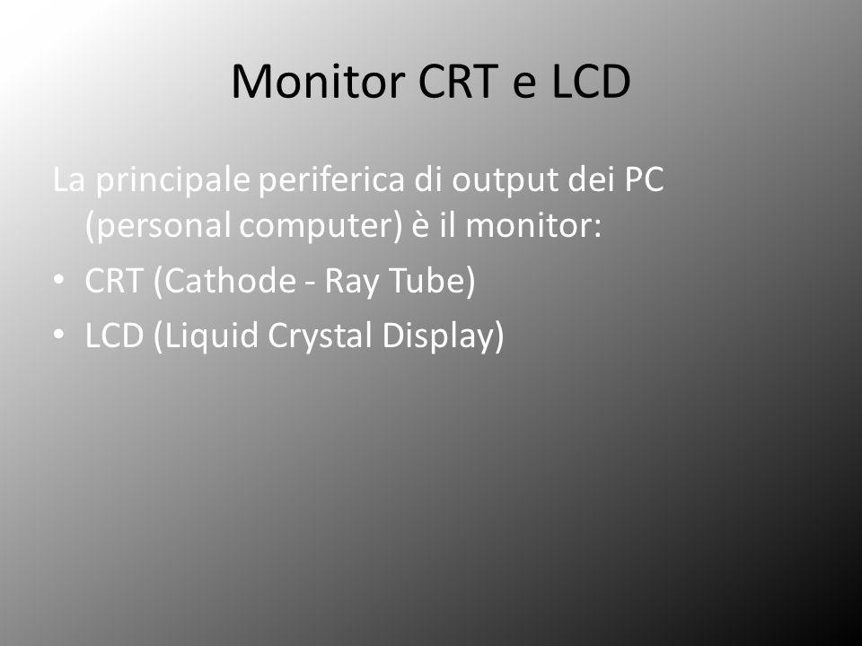 Monitor CRT e LCD La principale periferica di output dei PC (personal computer) è il monitor: CRT (Cathode - Ray Tube) LCD (Liquid Crystal Display)