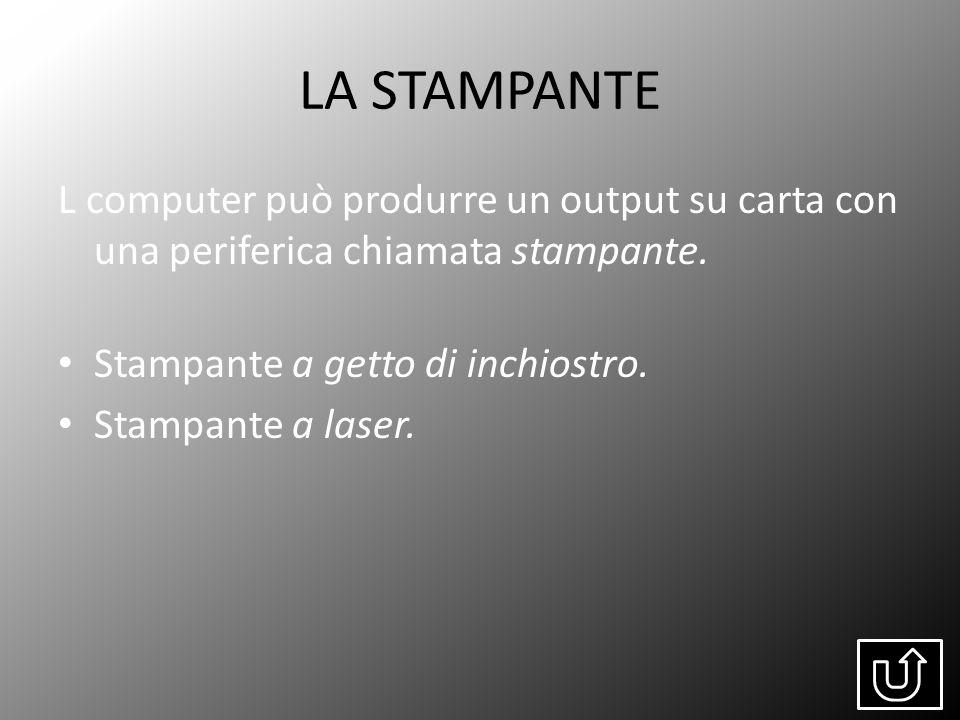 LA STAMPANTE L computer può produrre un output su carta con una periferica chiamata stampante. Stampante a getto di inchiostro. Stampante a laser.