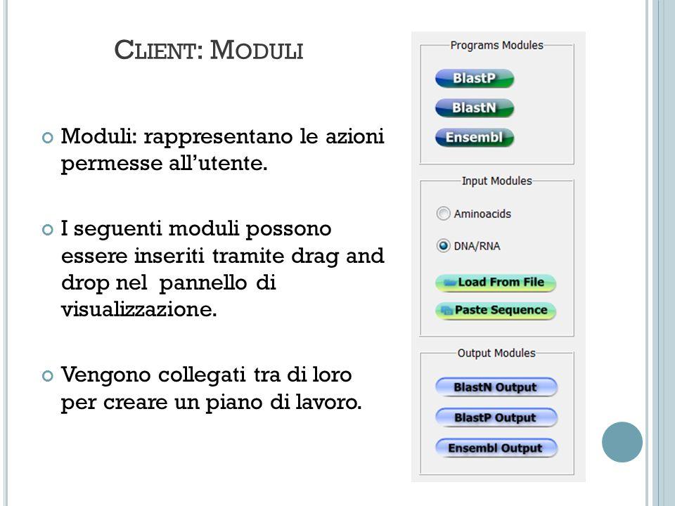 C LIENT : M ODULI Moduli: rappresentano le azioni permesse allutente. I seguenti moduli possono essere inseriti tramite drag and drop nel pannello di