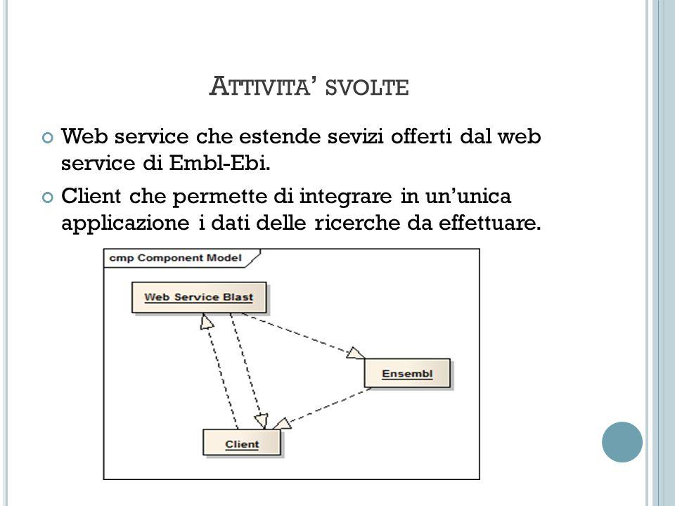 A TTIVITA SVOLTE Web service che estende sevizi offerti dal web service di Embl-Ebi.