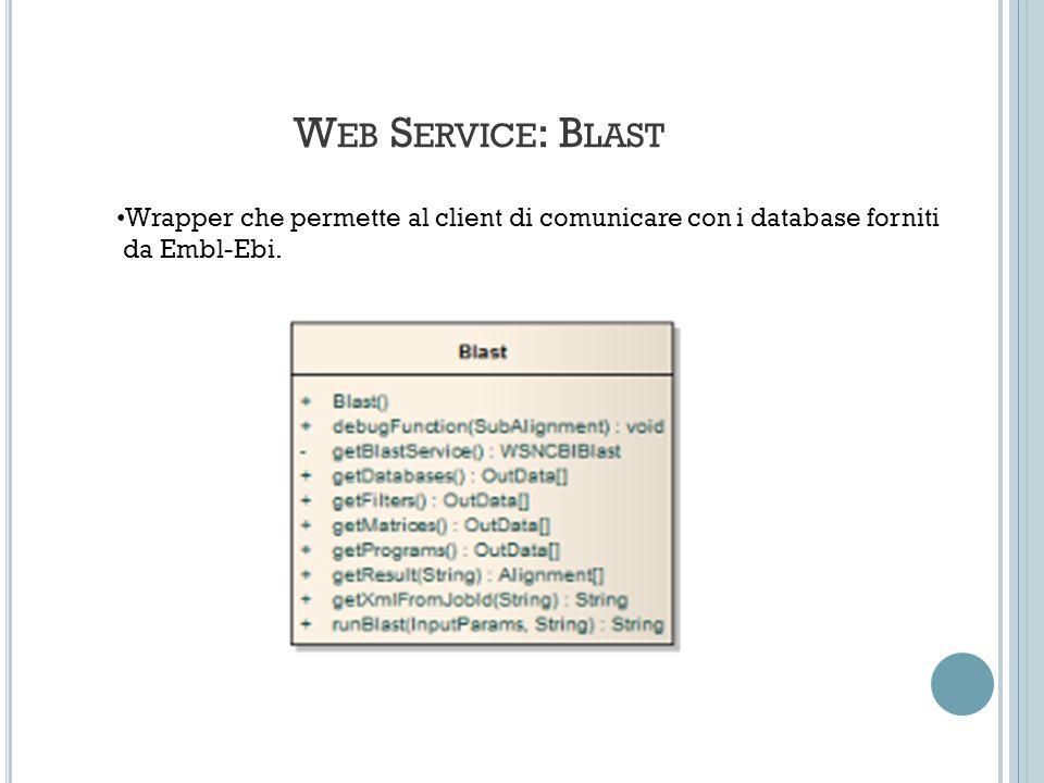 W EB S ERVICE : B LAST Wrapper che permette al client di comunicare con i database forniti da Embl-Ebi.
