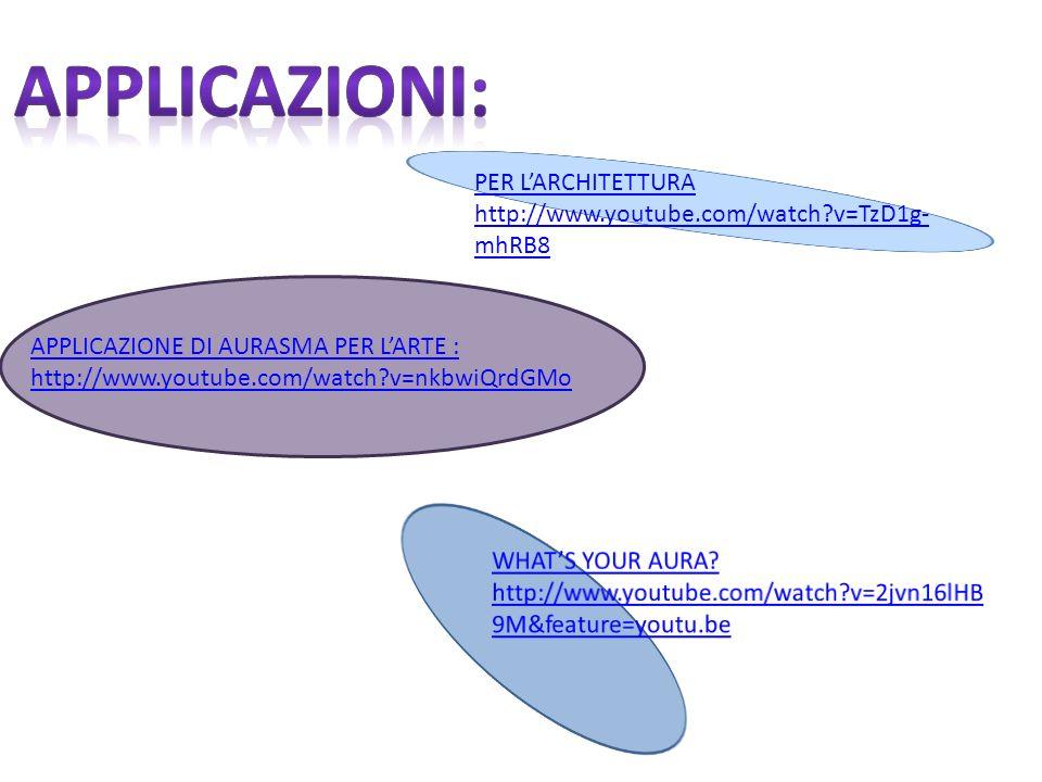 APPLICAZIONE DI AURASMA PER LARTE : http://www.youtube.com/watch?v=nkbwiQrdGMo PER LARCHITETTURA http://www.youtube.com/watch?v=TzD1g- mhRB8