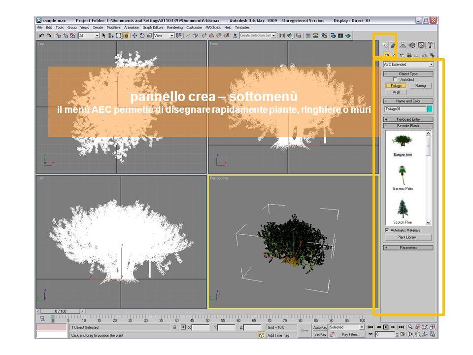 pannello crea – sottomenù il menù AEC permette di disegnare rapidamente piante, ringhiere o muri
