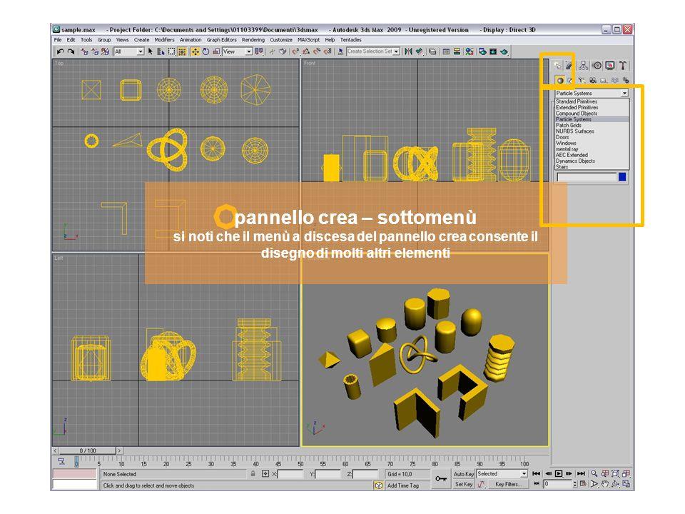 pannello crea – sottomenù si noti che il menù a discesa del pannello crea consente il disegno delle patch
