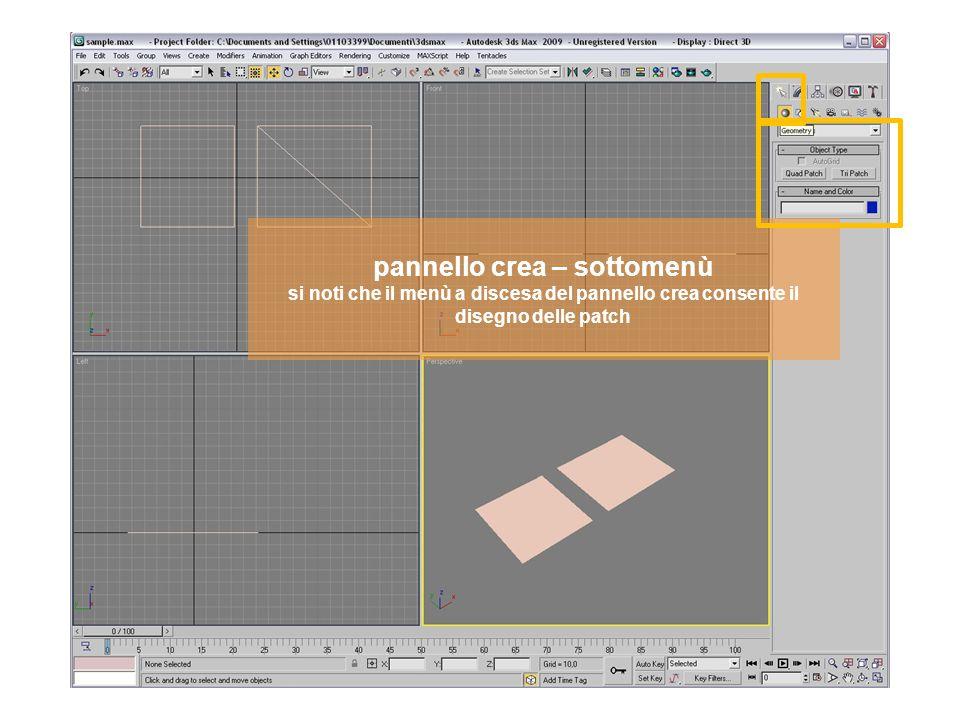 pannello crea – sottomenù si noti che il menù a discesa del pannello crea consente il disegno delle NURBS