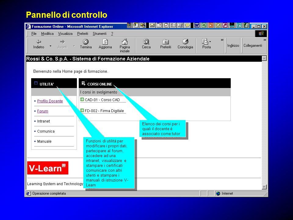 Funzioni di utilità per modificare i propri dati, partecipare al forum, accedere ad una intranet, visualizzare e stampare i certificati comunicare con