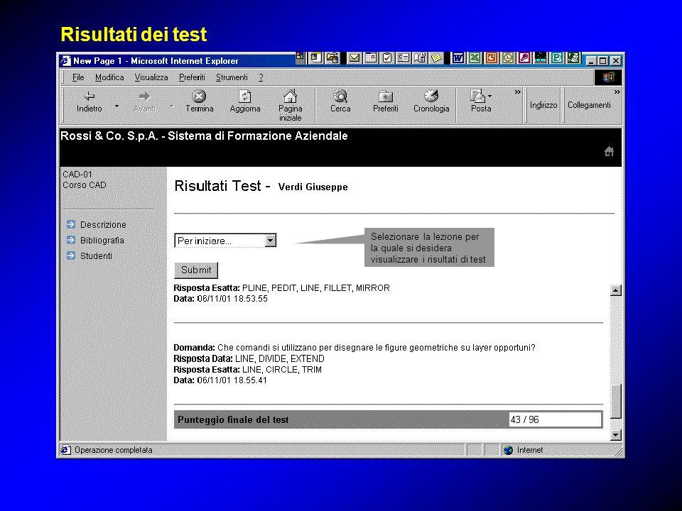 Selezionare la lezione per la quale si desidera visualizzare i risultati di test Risultati dei test