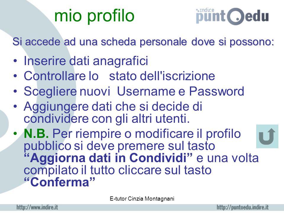 E-tutor Cinzia Montagnani Assistente Cliccando apre una pagina di aiuto per la navigazione