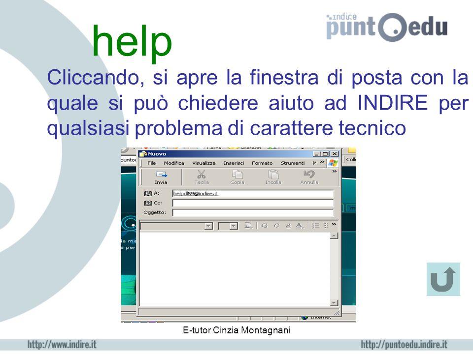 E-tutor Cinzia Montagnani mio profilo Inserire dati anagrafici Controllare lo stato dell'iscrizione Scegliere nuovi Username e Password Aggiungere dat