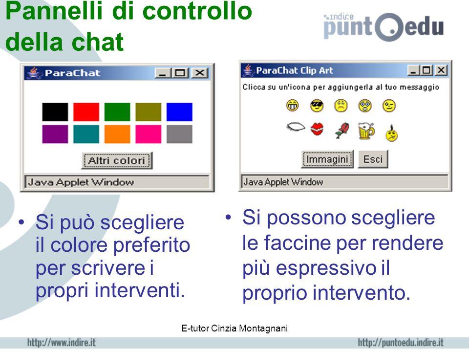 E-tutor Cinzia Montagnani Pannello della chat Nomi utenti collegati interventi Casella in cui inserire lintervento INVIO