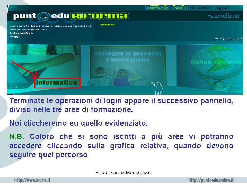 E-tutor Cinzia Montagnani Terminate le operazioni di login appare il successivo pannello, diviso nelle tre aree di formazione.