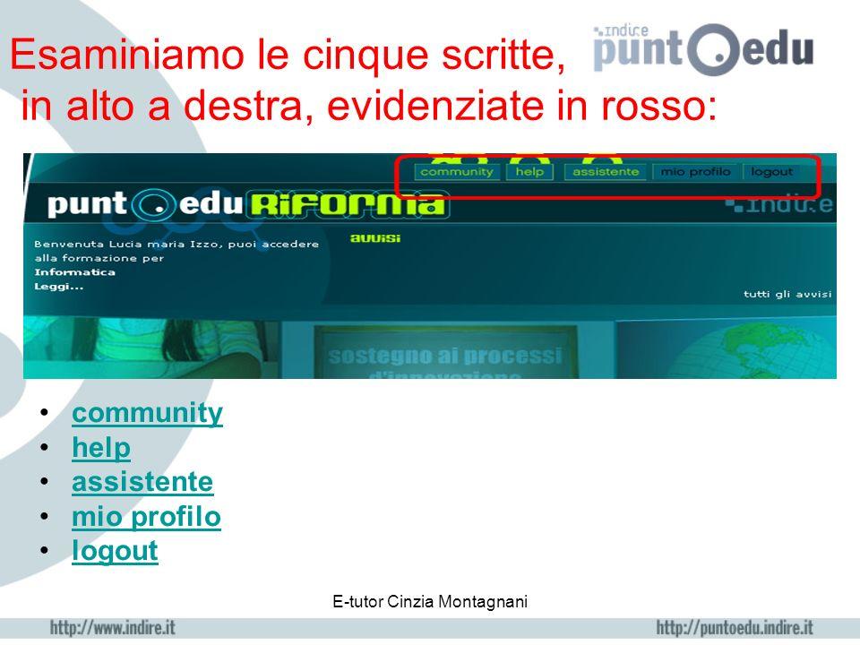 E-tutor Cinzia Montagnani Esaminiamo le cinque scritte, in alto a destra, evidenziate in rosso: community help assistente mio profilo logout
