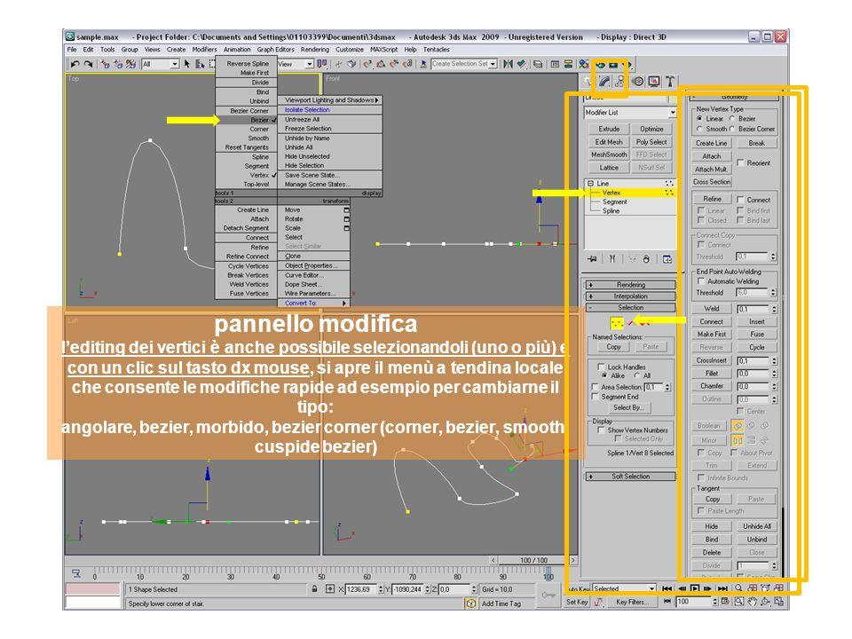 pannello modifica lediting dei vertici è anche possibile selezionandoli (uno o più) e con un clic sul tasto dx mouse, si apre il menù a tendina locale che consente le modifiche rapide ad esempio per cambiarne il tipo: angolare, bezier, morbido, bezier corner (corner, bezier, smooth, cuspide bezier)