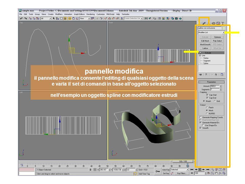 pannello modifica il pannello modifica consente lediting di qualsiasi oggetto della scena e varia il set di comandi in base alloggetto selezionato nellesempio un oggetto spline con modificatore estrudi