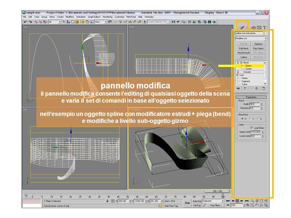 pannello modifica il pannello modifica consente lediting di qualsiasi oggetto della scena e varia il set di comandi in base alloggetto selezionato nellesempio un oggetto spline con modificatore estrudi + piega (bend) e modifiche a livello sub-oggetto gizmo