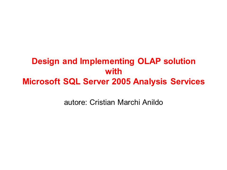 61 Dimostrazione 5-1 Funzionalità di amministrazione di un data base OLAP –Impostazione di ruoli e permessi –Backup e Restore