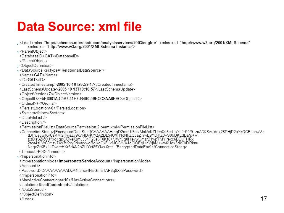 16 Data Source Il Data Source rappresenta la connessione ad una origine dati.