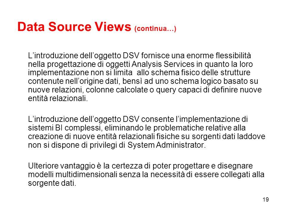 18 C:\Programmi\Microsoft SQL Server\ MSSQL.2\OLAP\Data\OLAPDatabase.0.db\ >.dsv.xml Data Source Views Il Data Source Views (DSV) consente la creazione di un livello logico di interfaccia tra il sistema relazionale e quello multidimensionale.